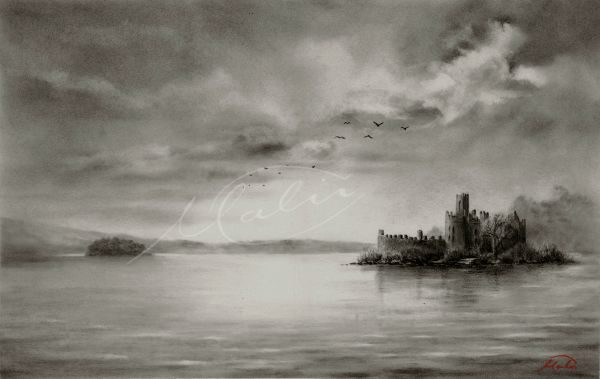 Charcoal Drawing Lough Key Boyle Co. Roscommon